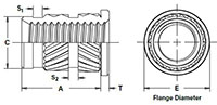 Heat-Staking-Insert--Flanged--Straight-Wall--Thru-Threaded_Dimension